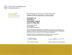 College of American Pathologists accredited certificate