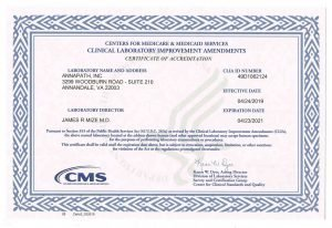 Clinical Laboratory Improvement Amendments accreditation certificate