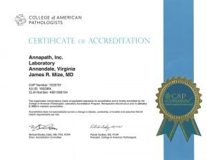 College of American Pathologists Certificate of Accreditation - Virginia